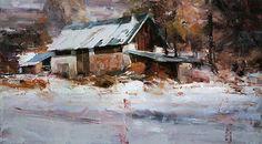 Winter Barn by Tibor Nagy Oil ~ 19,6 x 35,4