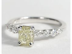 Floating Radiant Cut Diamond Engagement Ring in 18k White Gold #BlueNile