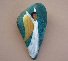 Handpainted Blissful Angel on Stone Pin by geminiriverrocks