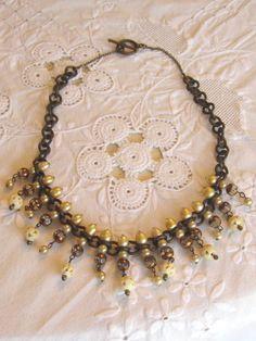 handmade romantic pearl handcarved bone crystal necklace atelier paris on etsy via Etsy