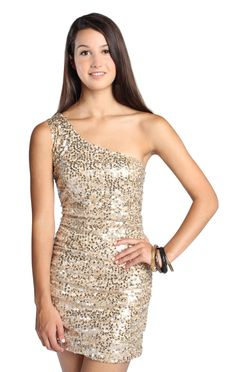 one shoulder gold sequin homecoming dress