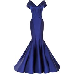 Zac Posen Draped Duchesse Satin Gown (€7.605) ❤ liked on Polyvore featuring dresses, gowns, long dresses, vestidos, cobalt, blue summer dress, off shoulder evening dress, blue gown, blue long dress and blue ball gown
