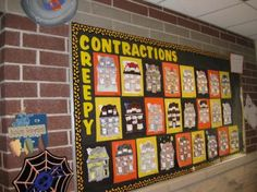 When her unit on contractions fell over the week of Halloween, Betsy McKnight, fourth grade teacher and bulletin board contributor to Izzyshare, found herself in a unique position. Black Bulletin Boards, October Bulletin Boards, Bulletin Board Paper, Halloween Bulletin Boards, Bulletin Board Borders, House Colouring Pages, Halloween Math, Halloween Stuff, Halloween Ideas