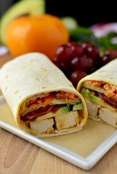 Summer Chicken Wraps with hummus, grilled chicken and fresh veggies