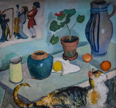 August Macke - Still Life with Cat, 1910. I REALLY like this. The brushwork on the cat is so spirited!