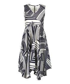 Another great find on #zulily! Navy & Ivory Stripe Handkerchief Dress #zulilyfinds