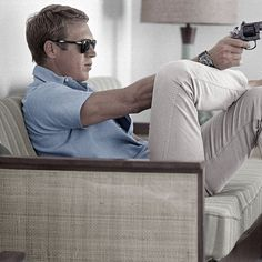 bosignani: Summer gear according to Steve Mcqueen (minus the gun). Polo chinos and #persol shades. #persol649 #styleicon #stevemcqueen #bosignani