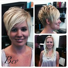 long & blonde to short sassy pixie before & after hairstyle