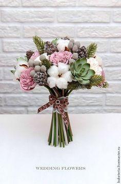 Свадебные цветы ручной работы. Ярмарка Мастеров - ручная работа. Купить Зимний букет невесты с цветами из полимерной глины. Handmade.