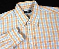 CANALI L Recent Plaid Check Windowpane Button-Down Luxury Men's Shirt ITALY EUC #Canali #ButtonFront