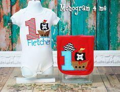 Pirate Birthday Shirt and Birthday bib Baby Boy by monogram4me