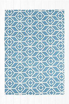 Tapis imprimé bleu à pois effet miroir 5x7