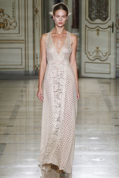 Absolutely Love this Beige Crocheted Style Gown with a V Neckline by Luisa Beccaria Spring 2016 Ready-to-Wear Collection Photos - Vogue