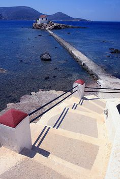 Staircase and walkway going down to the small church of Agios Isidoros on a small islet, Leros Island, Dodecanese, Greece Santorini, Travel Around The World, Around The Worlds, Myconos, Greece Holiday, Sailing Adventures, Greece Wedding, Greece Islands, Travel Memories