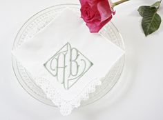 Parisian Font for a Monogrammed Embroidered Handkerchief