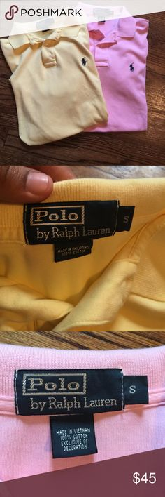 Men's size small polo by Ralph Lauren lot In good used condition. No rips or stains. Both size small. I'd like to sell together but will separate. Perfect for spring open to offers Polo by Ralph Lauren Shirts Polos