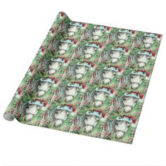 Holiday Horse Green Design Gift Wrap Paper-Created from my Original Watercolor