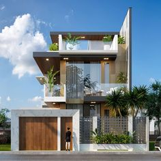 Hung Villa Son Tra by DA Visual. Tools used: Autodesk Max, Corona Renderer, Adobe Photoshop Modern Bungalow Exterior, Modern Exterior House Designs, Narrow House Designs, Modern House Facades, Modern House Design, Exterior Design, Modern Houses, Facade Design, 3 Storey House Design