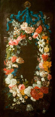 "A Wreath of Flowers by Daniel Seghers (Flemish, ~ he is particularly well known for his contributions to the genre of ""flower garden"" painting (Wikopedia) Old Paintings, Paintings I Love, Floral Paintings, Flower Of Life, Flower Art, Oil Painting Flowers, Garden Painting, Flower Garlands, Hanging Flowers"