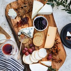 Decadent cheese platter with local cheeses and artisana crackers.