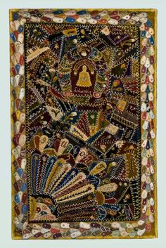 """Minnie Fligelman's """"Crazy"""" quilt was made of satin, damask, and velvet. (Cirva 1890) Montana historical society"""