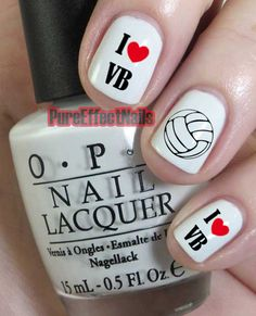 I+Love+VolleyBall+Nails+by+PureEffectNails+on+Etsy,+$4.00