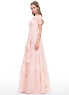 A-Line/Princess Scoop Neck Floor-Length Cascading Ruffles Zipper Up Covered Button Sleeves Short Sleeves No 2015 Pearl Pink Spring Summer Fall General Plus Chiffon Lace Evening Dress