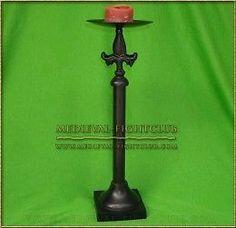 Black Metal Candle Stick- with Fleur de Lys 34.5cm