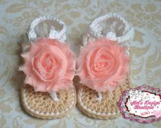 Baby sandals crochet baby shoes baby girl por MelsDesignBoutique