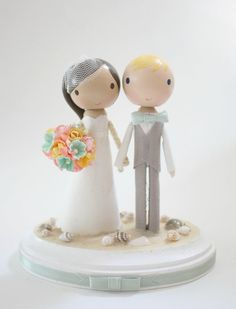 OMG!! Want! custom wedding cake topper  beach theme by lollipopworkshop, $150.00