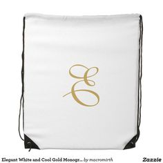 Elegant White and Cool Gold Monogram Cinch Bag. Customizable.
