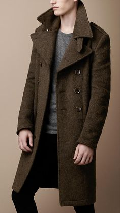 Mens Wool Trench Coat