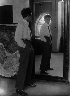 """kirgiakos: """""""" Johannes Fischer, Egon Schiele before his Mirror. (Vienna,1916) """" """""""