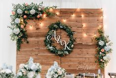 We built this pallet backdrop specifically for this wedding and I'm so happy wit. We built this pallet backdrop specifically for this wedding and I'm so happy with how it turned out. Rustic Wedding Backdrops, Wedding Reception Backdrop, Pallet Wedding, Wedding Backdrop Photobooth, Reception Ideas, Vintage Wedding Backdrop, Rustic Romance Wedding, Wedding Aisles, Wedding Ceremonies