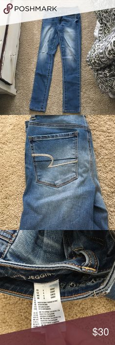 Hi rise jogging AE jeans Size four short American eagle hi rise stretch jegging. I never wore them because they weren't my size, but I did take the tags off. In perfect condition. Super cute, I wish they fit me right American Eagle Outfitters Jeans