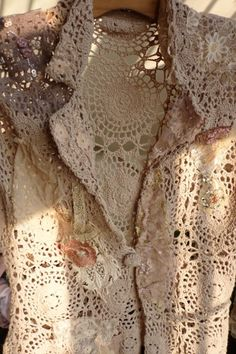 Vintage lace.... Doilies could be sewn to almost look like this... Tea or coffee dye them if you choose to...