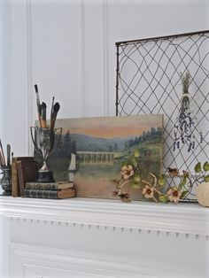 Chateau Chic - Vintage Oil on Fall Mantel Fall Vignettes, Autumn Display, Pie Safe, Dried Flowers, Decorative Items, Fall Decor, Oil, Seasons, Interior Design