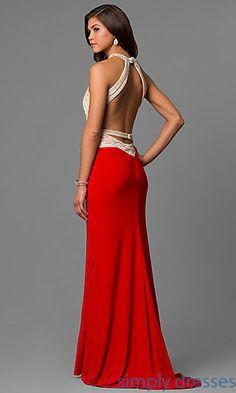 Long Formal Open-Back Beaded Alyce Red Prom Dress