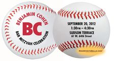 Example of Bar Mitzvah Party Invitation.  Custom Baseballs for Special events. Regulation size baseballs (not mini baseballs) with Synthetic Leather casing and red stitching. Unique Party Favors or Invitations for Birthdays, Weddings, Reunions, Baby Showers, Bar Mitzvah & Bat Mitzvah. Great for Give-a-Ways, Promotions, Trade Shows, Advertising and Fund Raisers.