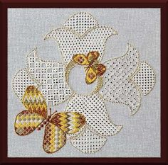 """Flight is is an introduction to pulled thread and pattern darning  techniques.  Four flowers and two butterflies are created using the tension of the stitches to form gaps, create lacy areas, and is usually worked with white thread on white fabric.  Design area is 6.75"""" x 6.75"""" on a 12"""" square fabric piece.  #stitching #embroidery #needlework"""