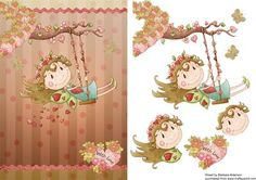 Swinging on the Fairy Bough on Craftsuprint designed by Barbara Alderson - step by step decoupage on a card front - Now available for download!