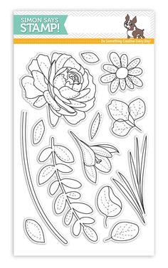 Simon Says Clear Stamps MORE SPRING FLOWERS SSS101703 New Beginnings zoom image Flower Line Drawings, Flower Drawing Tutorials, Digital Stamps Free, Love Doodles, Floral Drawing, Flower Stamp, Floral Illustrations, Simon Says Stamp, Digi Stamps
