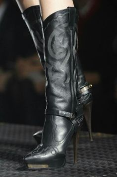 Lanvin Black Leather Stiletto Boots Spring 2013 - LOVE THESE! Looks like a cowgirl boot from the front but has a stiletto heel. Stiletto Boots, High Heel Boots, Heeled Boots, Bootie Boots, High Heels, Boot Heels, Rain Boots, Sexy Boots, Black Boots