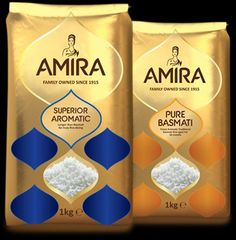 Amira is one of the most authentic brand for Basmati Rice. The company is Global producer of Packaged Food & Indian Specialty Basmati Rice. The company exports its products to five continents around the world. Rice Packaging, Food Packaging Design, Restaurant Steak, Baba Image, Rice Bags, Rice Grain, Food Design, Package Design, Packing