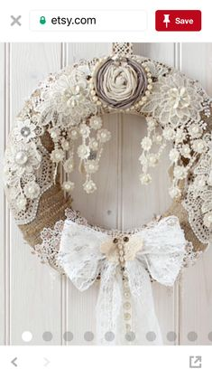 Shabby Chic Decorations for Any Space – Shabby Chic Talk Doilies Crafts, Burlap Crafts, Wreath Crafts, Diy Wreath, Burlap Wreath, Shabby Chic Kranz, Shabby Chic Wreath, Shabby Chic Crafts, Shabby Chic Decor