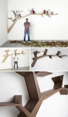 Tree branch book shelf.