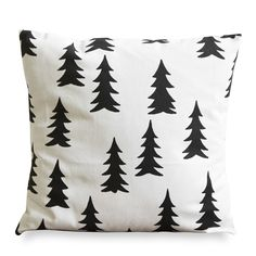 GRAN BLACK: Screen printed pillow case with black firs on white base   A pattern in clean, modern, Scandinavian style    Design: Elisabeth Dunker / Fine Little Day  Material: 100 % unbleached cotton  Colour: Black/white  Size: 40x40 cm / 15,7x15,7 inches