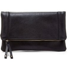 Sole Society Marlena vegan foldover clutch (€35) ❤ liked on Polyvore featuring bags, handbags, clutches, purses, black, vegan leather handbags, faux leather purse, vegan purses, fold over handbag and faux leather handbags