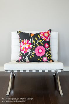 "A 26""x26"" Modern Print Custom-Made Pillow with White Cord Piping Detail.   Designed & For Sale for $186 by Natalie Fuglestveit Interior Design.  Made with Harlequin All About Me Funky Flowers Fabric."