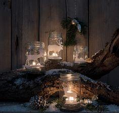 Windlichter aus alten Marmeladegläsern mit Hirschmotiv. Inspiration, Table Decorations, Furniture, Home Decor, Decorating Ideas, Creative, Repurposed, Candles, Corning Glass